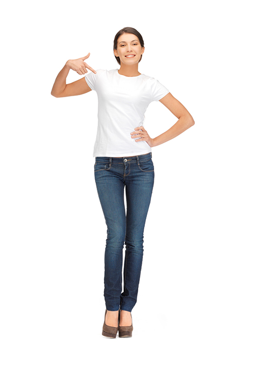 happy woman in white t-shirt pointing finger to herself